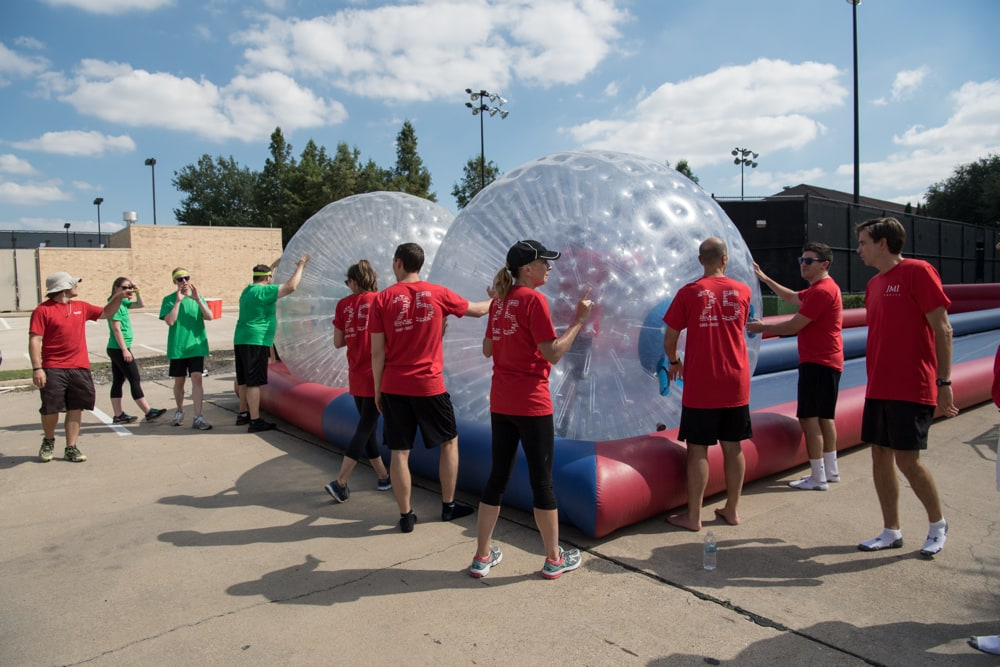 Inflatable Zorb Ball at JMI Equity- Team Building Event