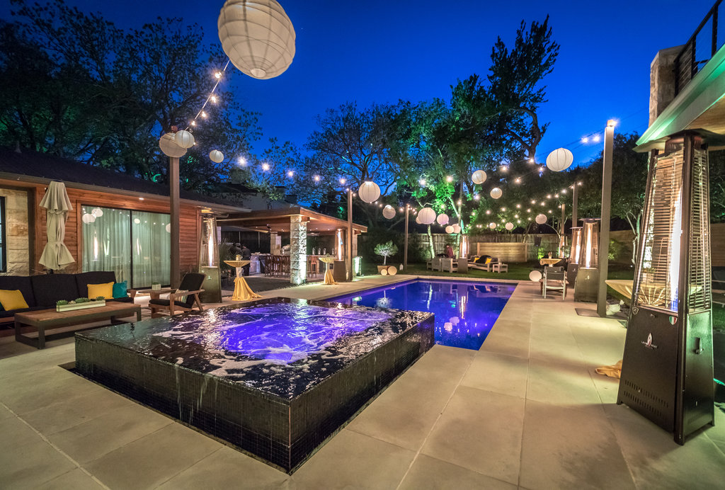 Pool Decorated with Lights at Anonymous Law Firm's Executive Retreat